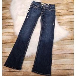 BKE Jeans - BKE Stella Flare Jeans Dark Wash Thick Stitch 28